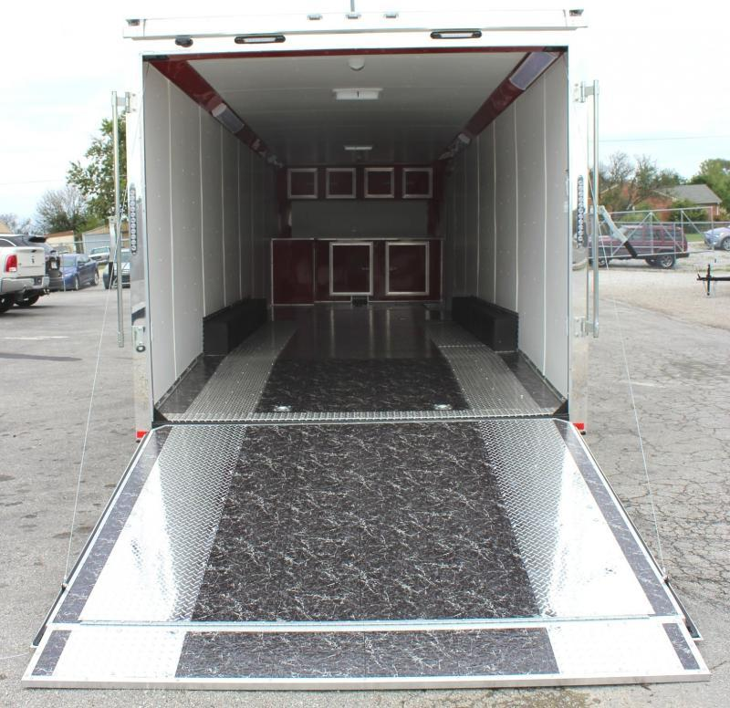 Now Available 2020 32' Millennium Thunderbolt Enclosed Race Car Trailer Red Cove & Cabinets/ Spread Tri Axles/ Alum Wheels