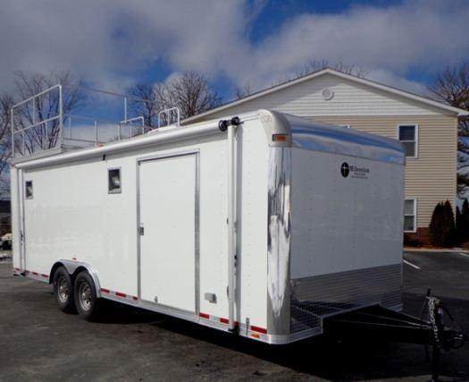 24' Custom Millennium Silver Enclosed Trailer w/Observation Deck