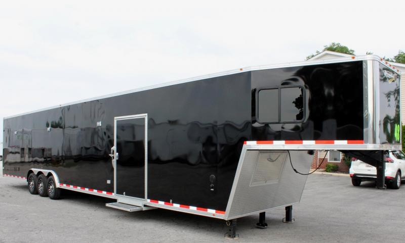 <b>Weekly Special</b> Large Bathroom Option 2019 48 Millennium Platinum GN  Tapered Nose Race Trailer LOADED