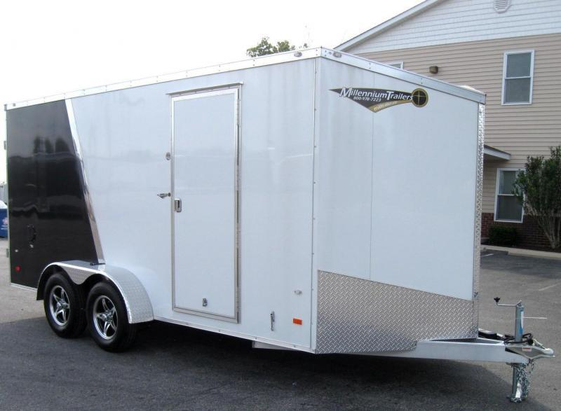 2019 7'x16' All Aluminum Hornet 2-Tone B&W Screwless Cargo Trailer