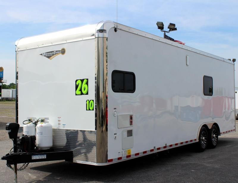 2019 26' Millennium Enclosed Car Trailer/Toy Hauler Tons of Options Added! Black Cabinets