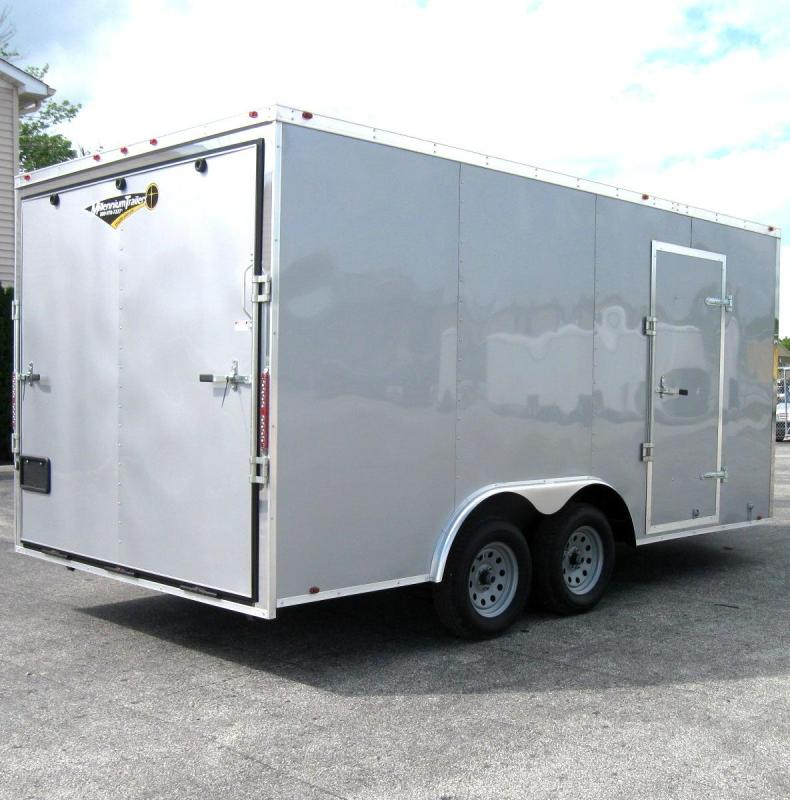 8.5x16 Silver Frost Millennium Chrome Enclosed Trailer