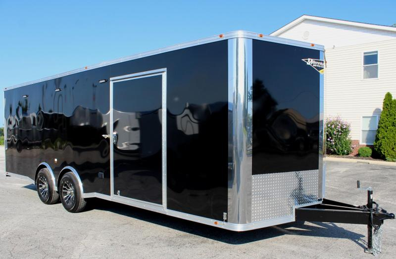 <b> It's a WOW!</b> 2020 24' Black Millennium Silver Spread Axle V-Nose Enclosed Trailer w/Gold Pkg.