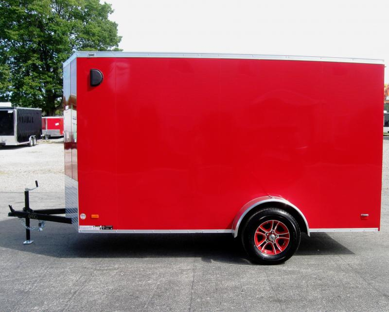 6'x12'  Scout Enclosed Cargo Trailer Plus Pkg & Red Alum Wheels
