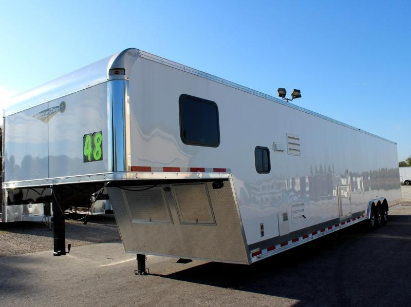 2019 48' Millennium Silver Enclosed Gooseneck Trailer w/12' Sofa Living Quarters w/King Size Bath
