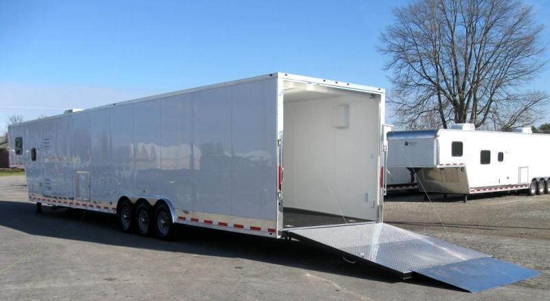 2020 48' Millennium Silver Enclosed Gooseneck Trailer w/12' Sofa Living Quarters w/King Size Bath