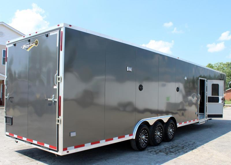 <b>Ready Soon</b> 2020 40' Millennium Silver Gooseneck Enclosed Race Car Trailer w/Partial Living Quarters