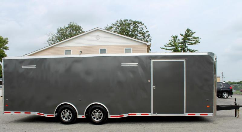 <b>NOW READY</b> 2019 28' Millennium Thunderbolt Enclosed Race Car Trailer Charcoal Cabinets/Alum Wheels/Spread 6K Axles