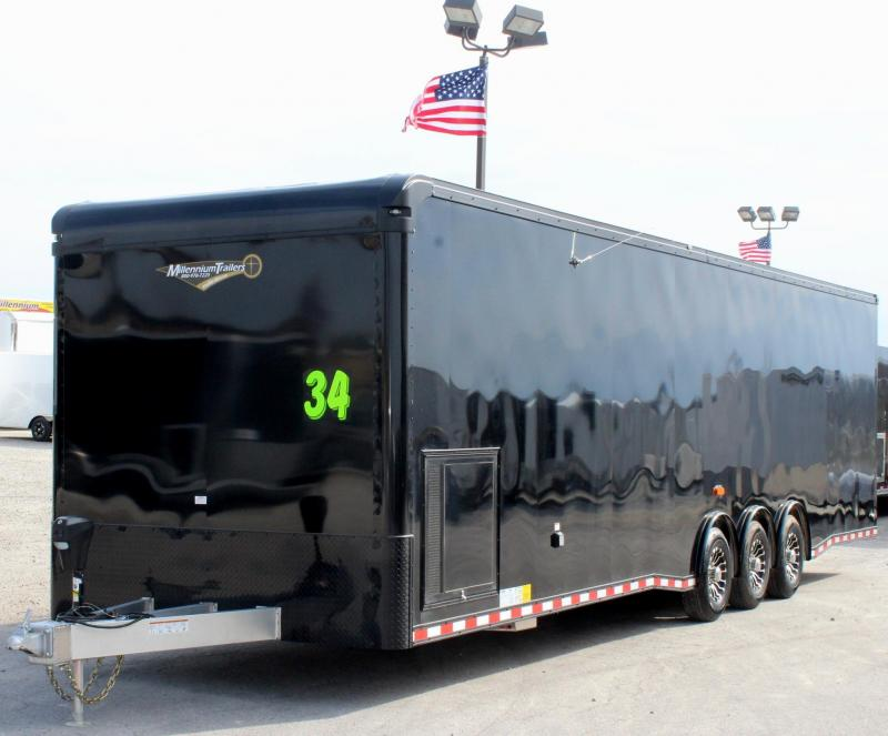 2019 34' All Alum Millennium Black Out Enclosed Trailer/ Spread Triaxle with NEW Solar Panel Charger