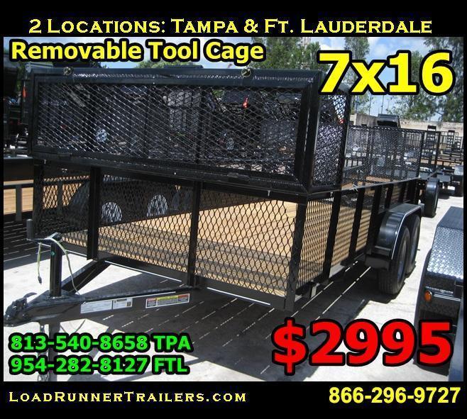 *U16* 7x16 Lawn Utility Trailer w/ Detachable Toolbox Cage 7 x 16 | U76-16T3-0B-AR/2M/CG