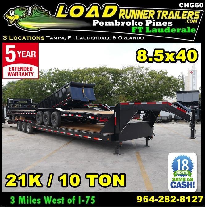 *CHG60* 8.5x40 21K/10 TON Multi Car Hauler Gooseneck Trailer 8.5 x 40 | CHG102-40TT7-DOF