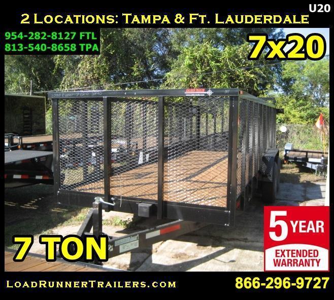 *U20* 7x20 Heavy Duty 7 TON Utility Trailer 4' Mesh and Tube Rail 7 x 20 | U84-20T7-TR/4M