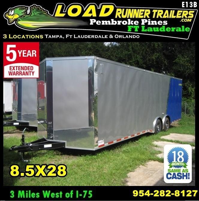 *E13B* 8.5x28 Enclosed Cargo Trailer Car Trailers Hauler 8.5 x 28   EV8.5-28T7-R
