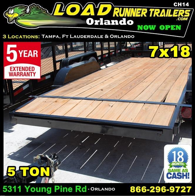 *CH14* 7x18 Car Hauler Trailer w/Brakes |5 TON Trailers 7 x 18 | CH82-18T5-1B in Ashburn, VA
