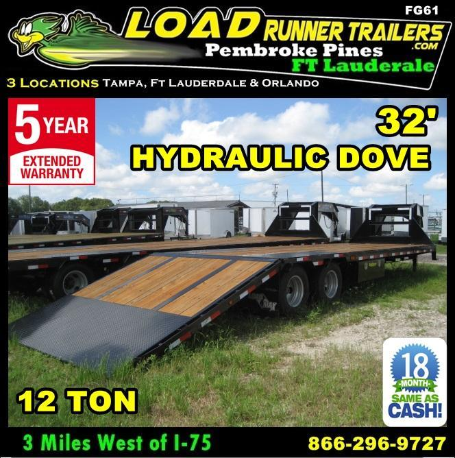 *FG61* 8.5x32 Flatbed Gooseneck  Trailer 12TON Hydraulic 8.5 x 32 | FG102-32T12-HYD
