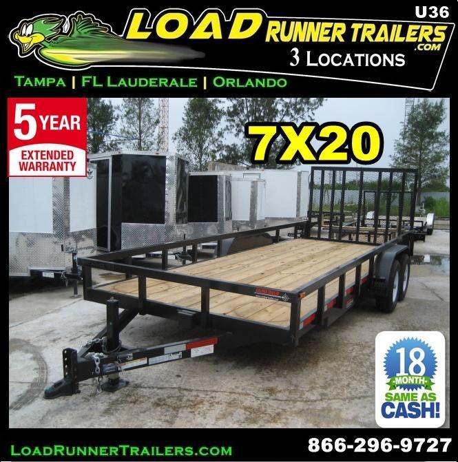 *U36* 7X20 Utility Trailer|HEAVY DUTY Tandem 5200# Axles w/Ramp 7 x 20 | U84-20T5-2B-TR