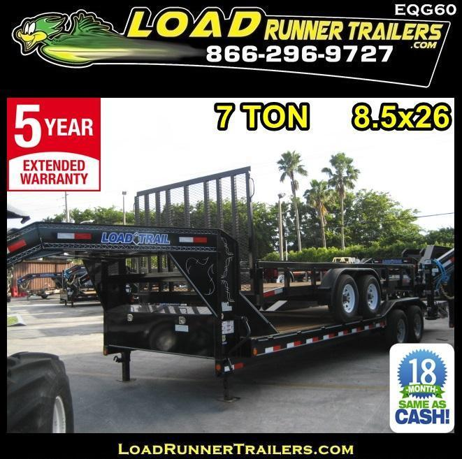 *EQG60* 8.5x26 7 TON Gooseneck Equipment Hauler Trailer |LR Trailers 8.5 x 26 | EQG102-26T7-DOF/KR