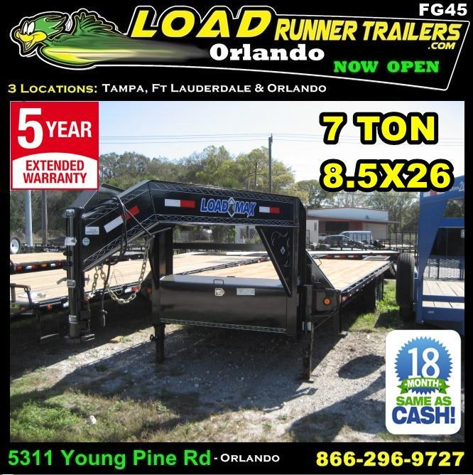 *FG45* 8.5x26 Gooseneck Flatbed Deck Over Trailer |7 TON Trailers 8.5 x 26 | FG102-26T7-FF