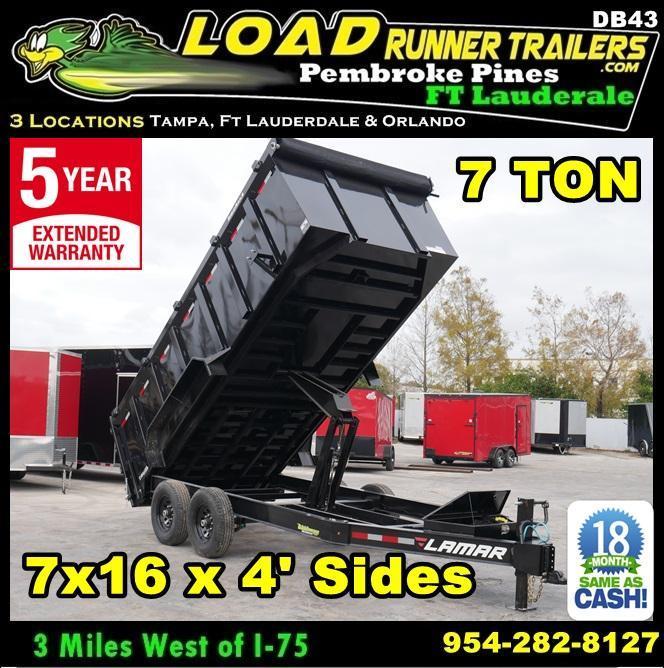 *DB43* 7x16 Lamar Dumps and Trailers |7 TON Dump Trailer 7 x 16 | D83-16T7-LP/48S in Ashburn, VA