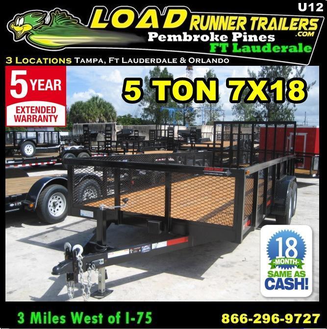 *U12* 7x18 5 TON Utility Trailer w/ Dove Tail 7 x 18 | U84-18T5-2B-TR/2M