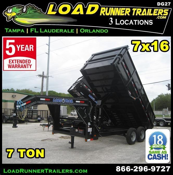 *DG27* 7x16x4 7 TON Gooseneck Dump Trailer 4 Ft Sides LRT Trailers 7 x 16 | DG83-16T7-24S+24
