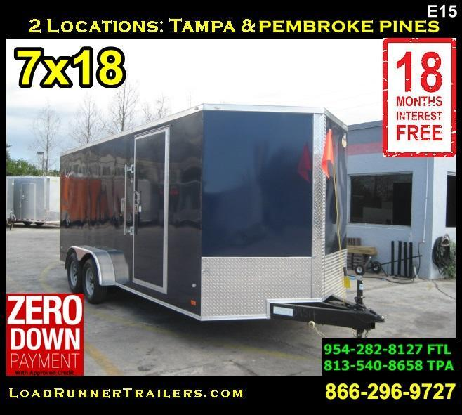 *E15* 7x18 Enclosed Cargo Trailer Tandem Axle Box Trailers 7 x 18 | EV7-18T3-R
