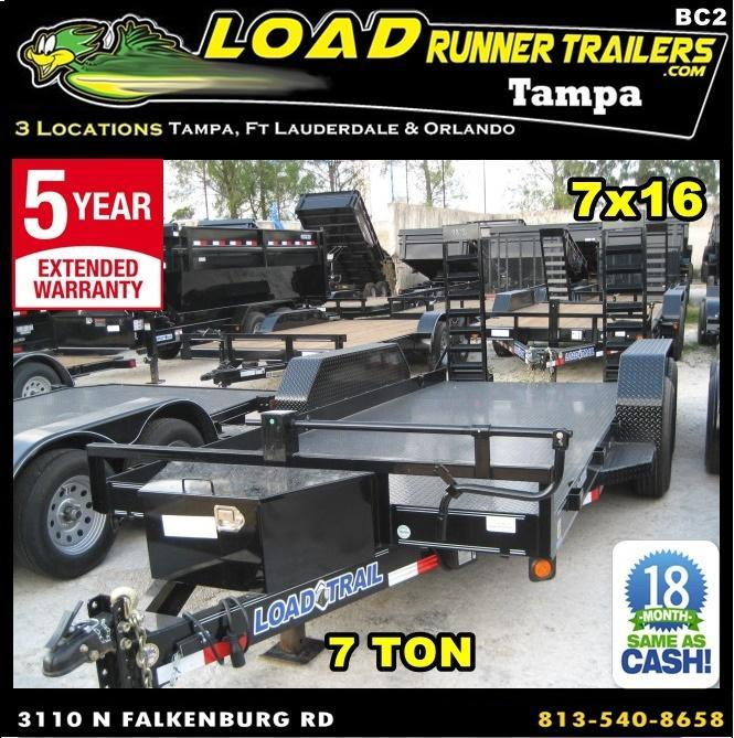 *BC2* 7x16 7 TON Bobcat/Equipment Hauler Trailer w/Kicker Ramps 7 x 16 | BC80-16T7-SD/KR