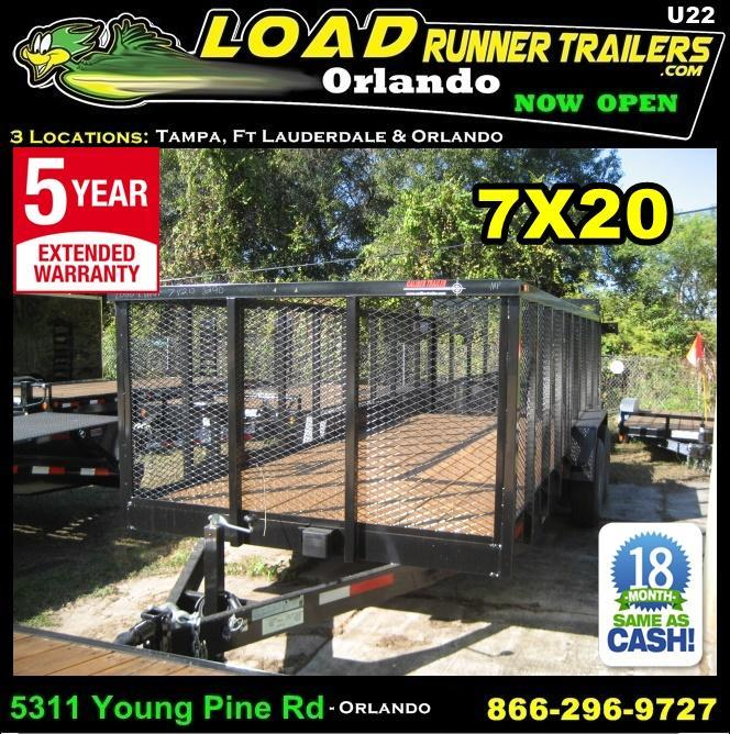*U22* 7x20 Heavy Duty Utility Trailer w/Tandem 5200# Axles and Tube Rail 7 x 20 | U84-20T5-2B-TR/2M