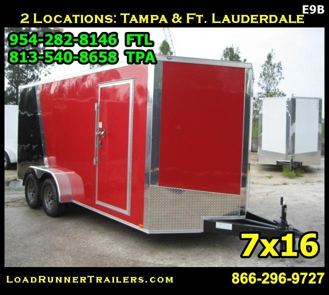 *E9B* 7x16 Enclosed Cargo Trailer Tandem Axle Hauler 7 x 16 | EV7-16T3-R
