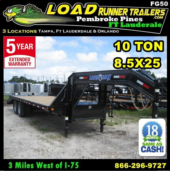 *FG50* 8.5x25 Gooseneck Deck Trailer 10 TON Flatbed 8.5 x 25 | FG102-25T10-FF