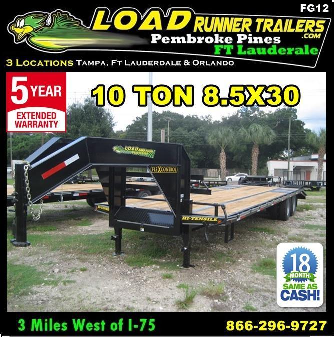 *FG14* 8.5x34 Flatbed Gooseneck Deck Over 10 TON|20K Trailer 8.5 x 34 | FG102-34T10-FF