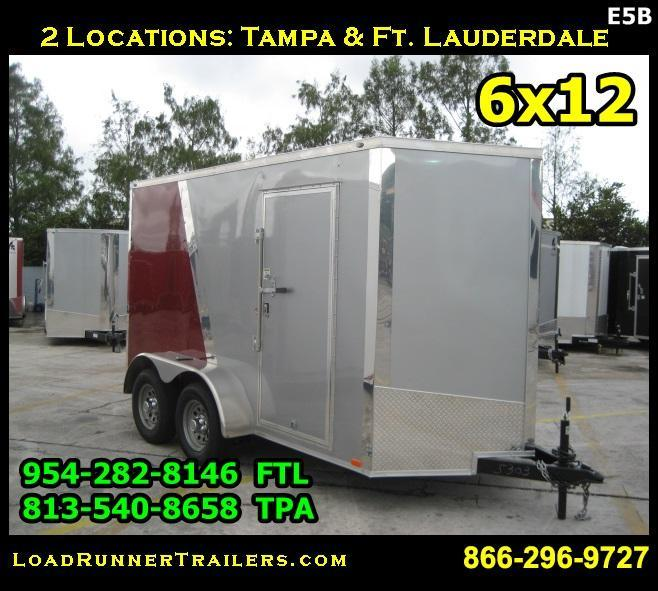 *E5B* 6x12 Enclosed Cargo Trailer Covered Box Trailers 6 x 12 | EV6-12T3-R
