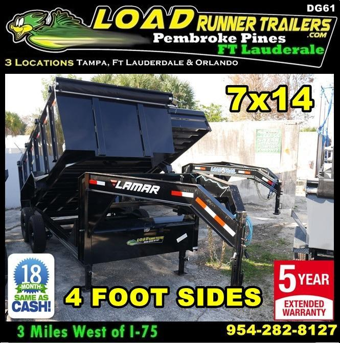 *DG61* 7x14 Dump Trailer 4' Sides 7 TON Gooseneck Trailers 7 x 14 | DG83-14T7-LP/48S in Ashburn, VA