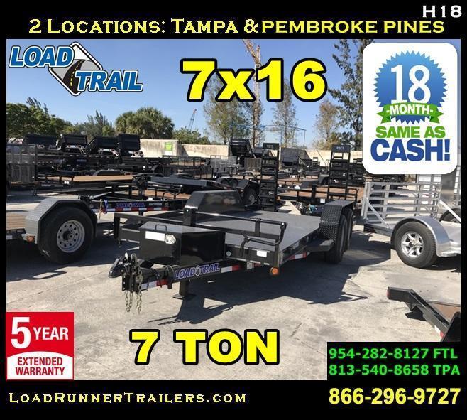 *H18* 7x16 Steel Deck Equipment Hauler Trailer 7 TON Trailers 7 x 16 | BC80-16T7-SD/KR