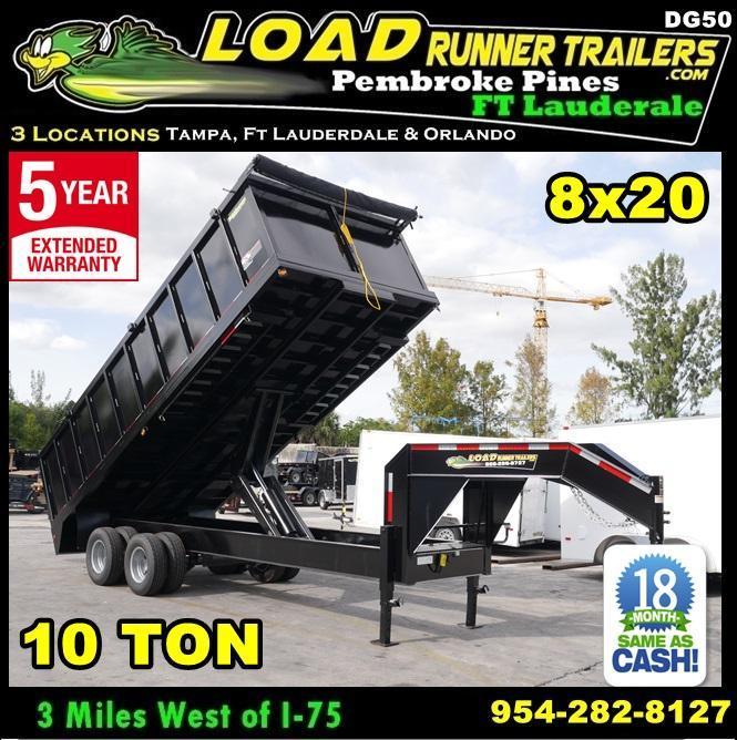 *DG50* 8x20 10 TON Dual Tandem Dump Trailer  LR Trailers 8 x 20   DG96-20T10-48S