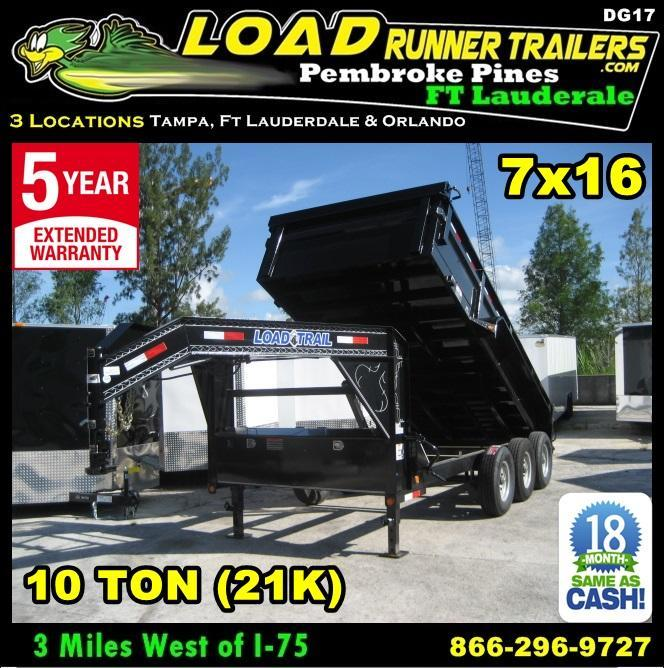 *DG17* 7x16 Triple Axle Gooseneck Dump Trailer 21K Trailers 7 x 16 | DG83-16TT7-24S