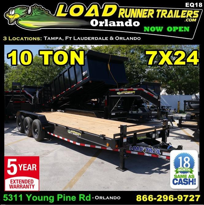 *EQ18* 7x24 10 TON Equipment & Car Hauler Trailer |LR Trailers 7 x 24 | EQ83-24TT7-KR