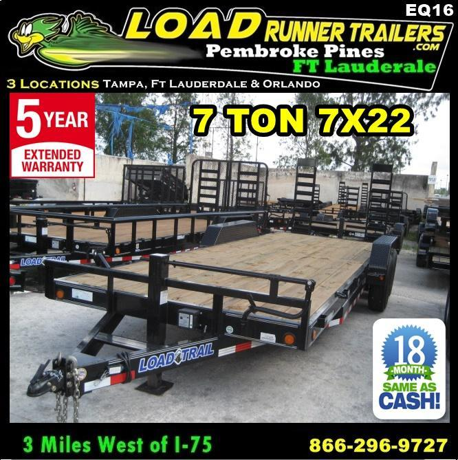 *EQ16* 7x22 7 TON Equipment Trailer  Car Hauler w/Ramps 7 x 22 | EQ83-22T7-KR