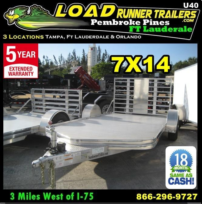 *U40* 7x14 Sundowner Motorcycle Trailer|All Aluminum 7 x 14 | U81-14S3T-1B-BFG