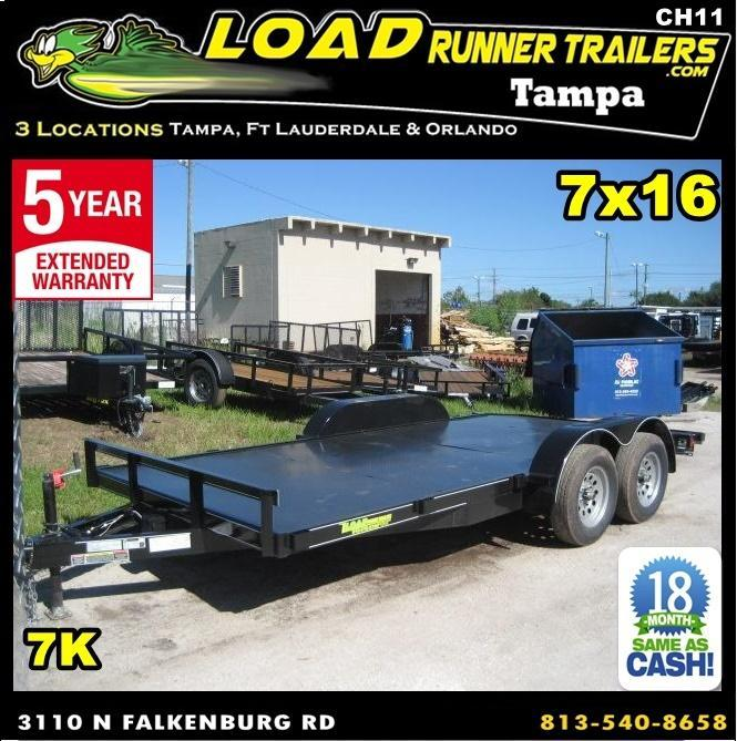 *CH11* 7x16 Car hauler Trailer w/Brakes LR Trailers & Haulers 7 x 16 | CH82-16T3-1B-SD
