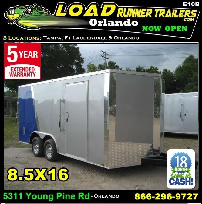 *E10B* 8.5x16 Enclosed Trailer Cargo Car Hauler 8.5 x 16 | EV8.5-16T5-R