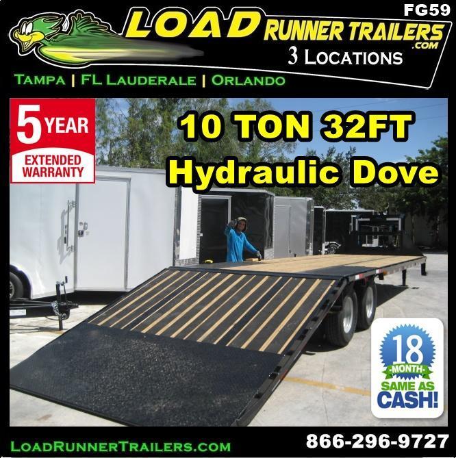 *FG59* 8.5x32 Flatbed Gooseneck Trailer 10 Ton Deck Over With Hydraulic Dove 8.5 x 32 | FG102-32T10-HYD