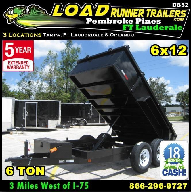 *DB52B* 6x12 6 TON Dump Trailer Dumps & Trailers 6 x 12 | D72-12T6-24S