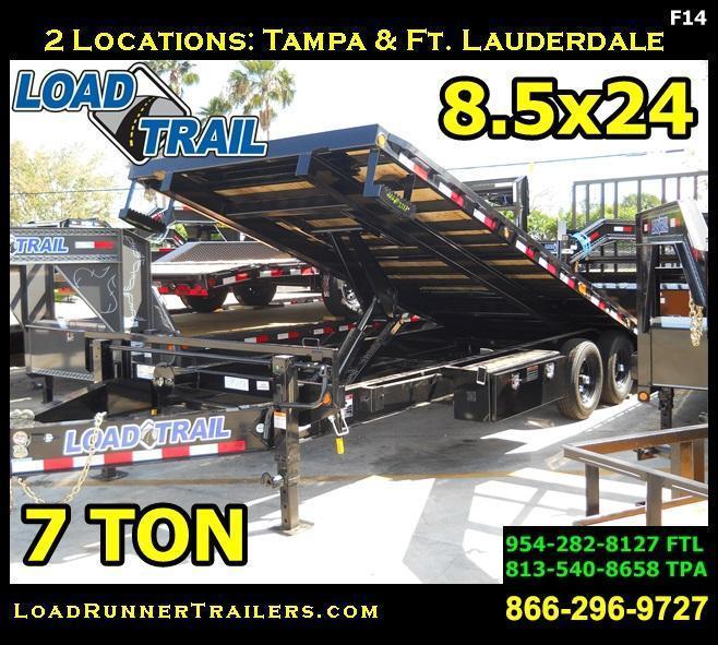 *F14* 8.5x24 Flatbed Deck Over Tilt Equipment Hauler Trailer 8.5 x 24   TFC102-24T7-PT