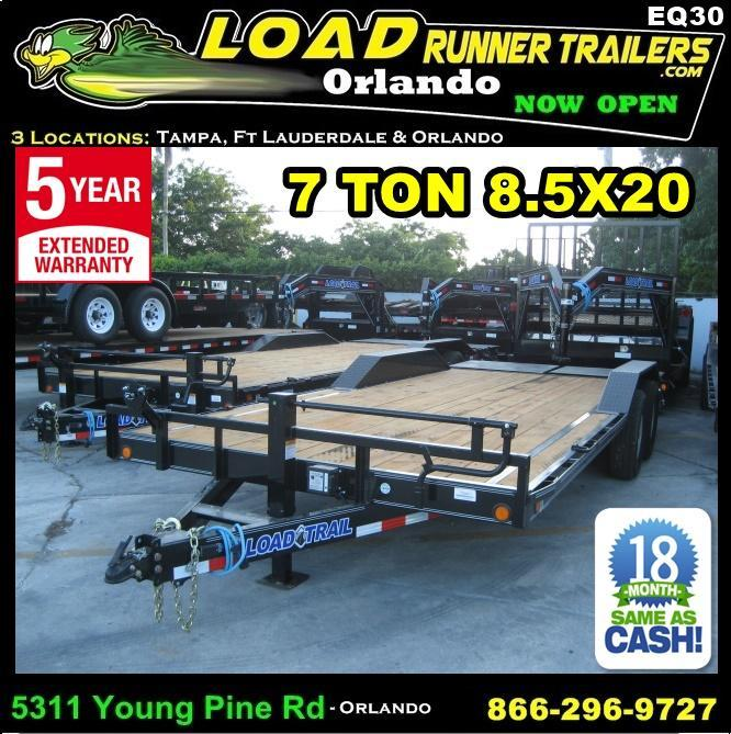 *EQ30* 8.5x20 7 TON Equipment Hauler Trailer W/Drive Over Fenders|Dove Tail 8.5 x 20 | EQ102-20T7-DOF/KR