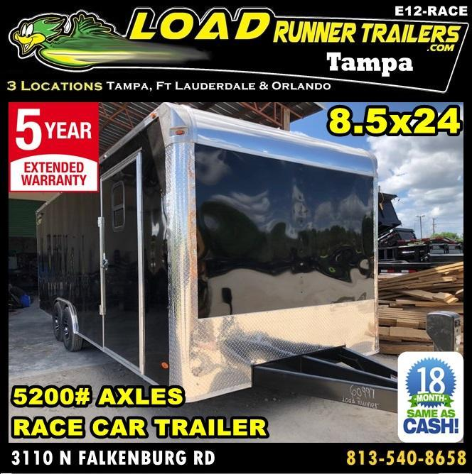 *E12-Race* 8.5x24 RACE CAR ENCLOSED CARGO TRAILER |LR TRAILERS 8.5 x 24 | EV8.5-24T5-RACE