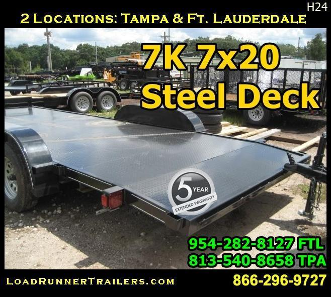 *H24* 7x20 7K Car Hauler Trailer Steel Deck Haulers 7 x 20 | CH82-20T3-1B-SD