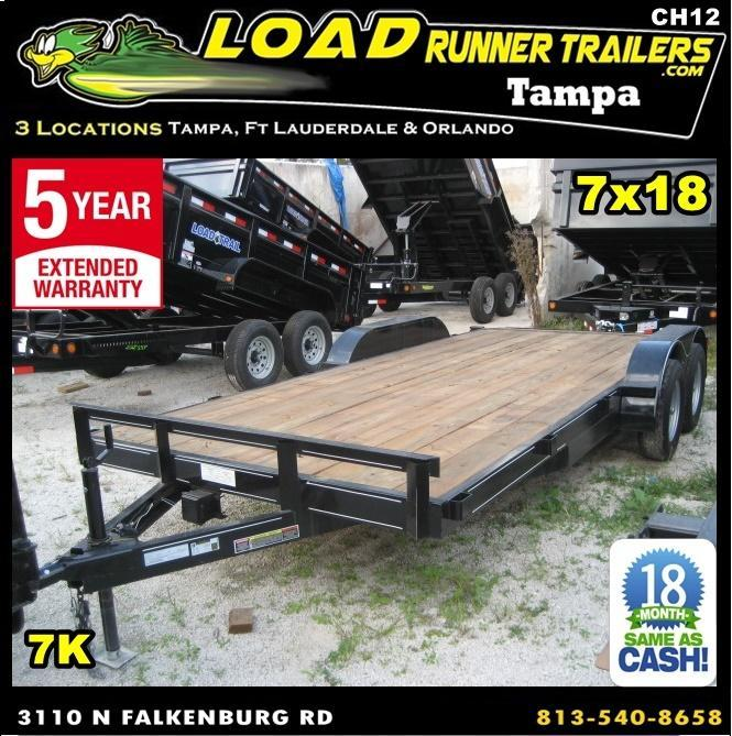 *CH12* 7x18 Car Hauler Trailer w/Brakes Trailers & Haulers 7 x 18 | CH82-18T3-1B