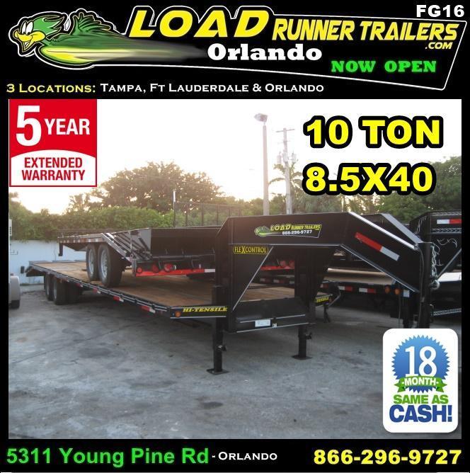 *FG16* 8.5x40 Flatbed Gooseneck Deck Over 10 TON|20K Trailer 8.5 x 40 | FG102-40T10-FF