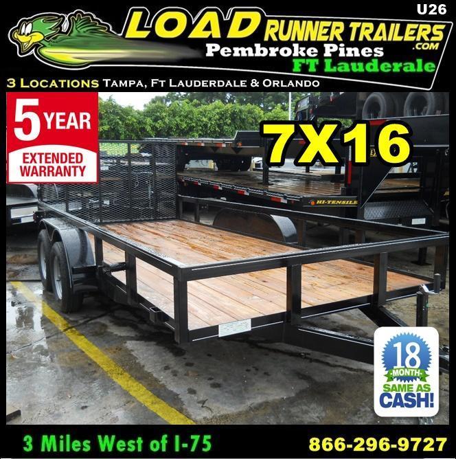 *U26* 7x16 Utility Trailer w/Ramp Elec Brakes and Tube Rail 7 x 16 | U82-16T3-1B-TR